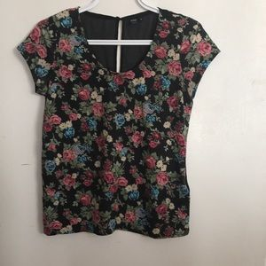 3/25$ flowers print front t-shirt see through back